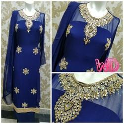 Stiched Blue Designer Suit