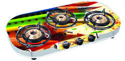 SUN SAFE Glass Cook Top Pearl Digital Gas Stove SU-3B-355, SU-3B-355 TRI GLASS SS PEARL DIGITAL