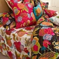Cotton Flower Print Kantha Bed Cover