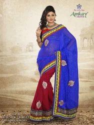 Jute Silk Blue Fancy Saree