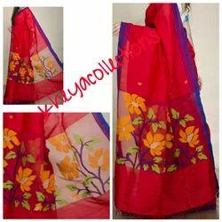 Kheya Red Jamdani Pallu Khadi Silk Saree, Length: 6.25 m