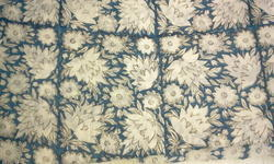 Blue Flower Block Printed Fabric