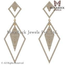 Rhombus Design 14K Yellow Gold Diamond Earring