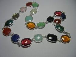 Silver Bezel Set Gemstone Necklace