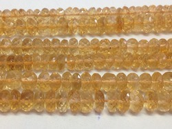 Citrine Faceted Rondelle Gemstone Beads