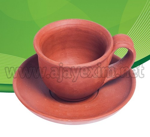 Ajay Pot Red Clay Cup and Saucer