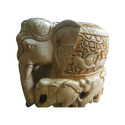 Wooden Carved Elephant With Baby