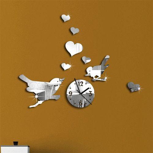 Acrylic Wall Clock - Butterfly Acrylic Mirror 3D Home Wall Clock