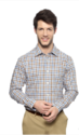 Blue and Brown Checkered Slim Fit Shirt