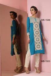 常规全袖女士蓝棉Kurti, 280 Gsm,洗涤护理:机洗