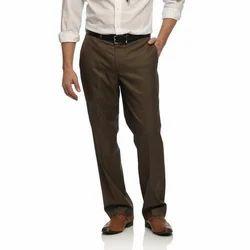 Brown Cotton Formal Pants