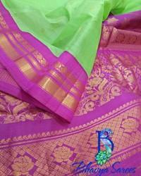 Gadwal Sico Green With Pink Combination Saree
