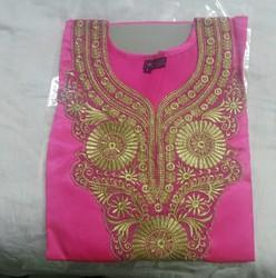 Pink Casual Wear Silk Cotton Kurti, Wash Care: Handwash, Size: Large
