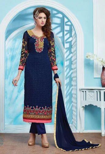 85df00fb86 Dark Blue Party Wear Georgette Suit, Rs 1176 /piece, Looloo Fashion ...