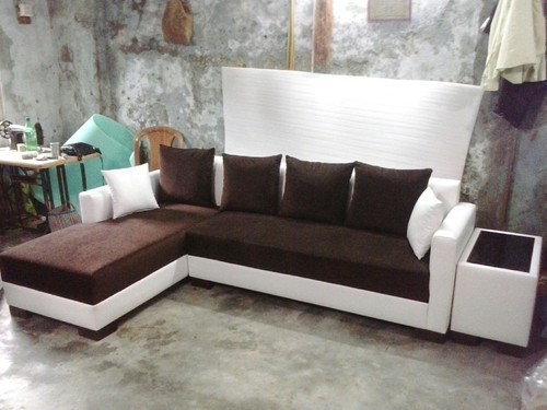 Brown And White L Shape Sofa Set For Home Rs 26000 Set Id
