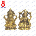 Lord Ganesh & Laxmi Sitting On Lotus Base Coiled Trunk