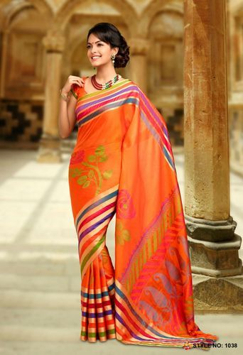 Kanchepuram Silk Sarees Orange Pure Silk Handloom Saree, With Blouse Piece
