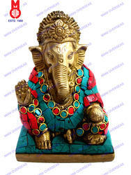 Lord Ganesh Sitting With Stone Work