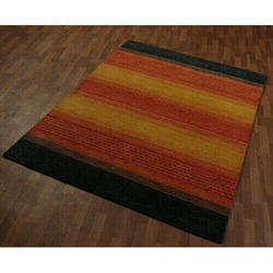Multicolor Hand Woven Woolen Carpet Stripe NZ Wool Carpets