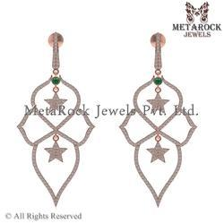 14k Rose Gold Diamond Earring Jewelry