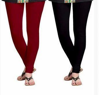 5f6a58c26bed Churidar Plain Combo Pack Jumbo Black And Maroon Leggings, Size: Free Size