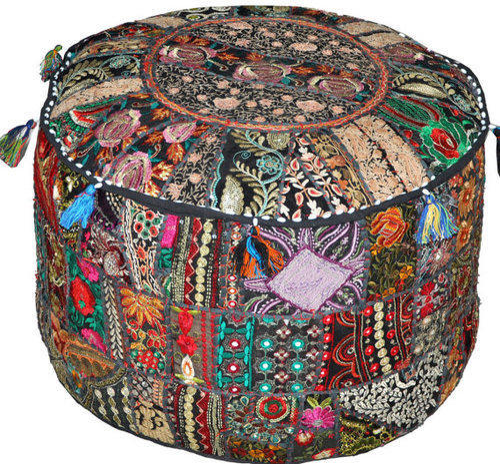 Excellent Indian Bohemian Patch Work Pouf Ottoman Pouf Cover Frankydiablos Diy Chair Ideas Frankydiabloscom