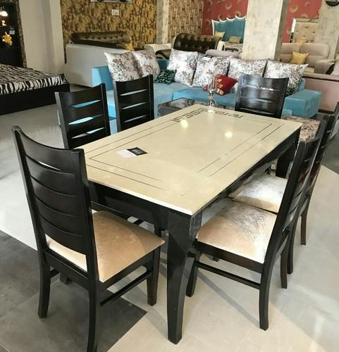 Schrodinger Brown White Red Marble Granite Dining Table Set
