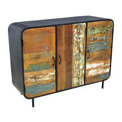 Vintage Style Reclaimed Three Door Sideboard, Size: W120xd40xh90 Cm, Size/Dimension: 120 X 40 X 90 Cm