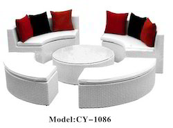 White Garden Outdoor Rattan Sofa Set