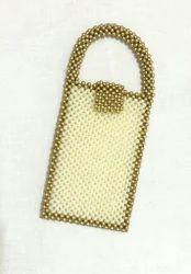 Gold N White Handmade Moti Fancy Mobile Cover