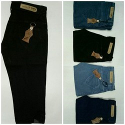 Black Light Blue Dark Blue Chemical Blue Denim Ladies Capri