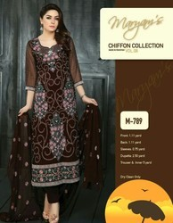 Party Wear Heavy Embroidery Chiffon Suit