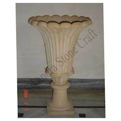 Conical {Base Excluded} Carved Decorative Vase