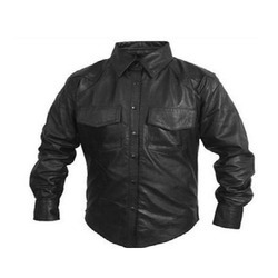 Mens Leather Full Sleeve Shirt