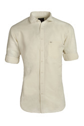 Off White Men Linen Plain Shirt