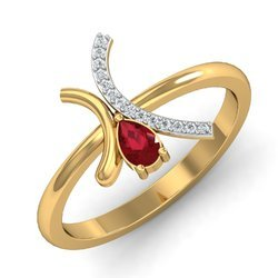 Round Shape Maroon Stone Gold Diamonds Ring