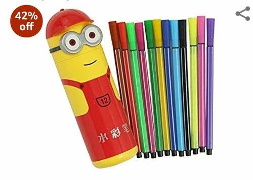 Multicolor Minion Sketch Pens Pencil Box Rs 40 Piece Silver Coin Traders Id 19699674691