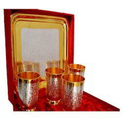 Gold Plated Milk Glass 4 Piece Set