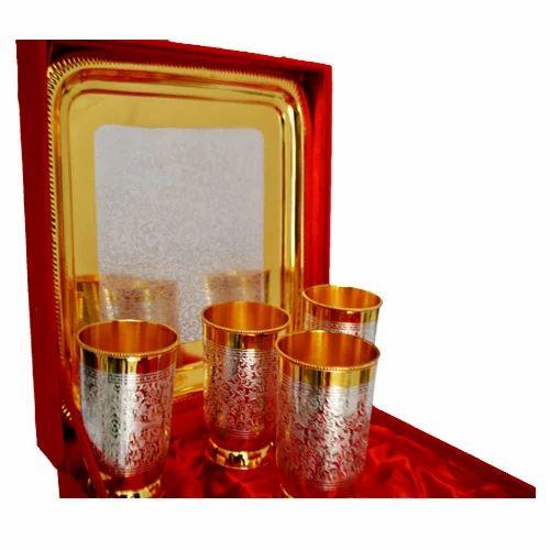 Gold Plated Brass Milk Glass 5 Piece Set