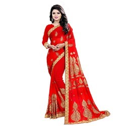 3 Colour Available 6.30 Emboridery Work Saree, Construction Type: Machine