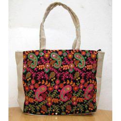 Embroidered Jute Ladies Bag