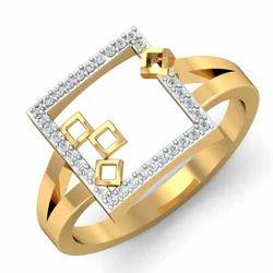 Square Shape Gold Diamonds Ring