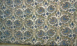 Blue Creeper Design Block Printed Fabric