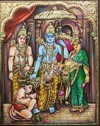 Sita Rama Lakshmana Hanumana Tanjore Painting
