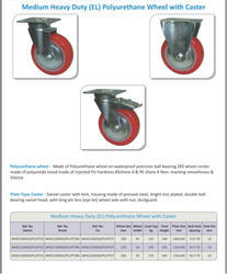 Semon Red Press Steel Casters with PU Wheel