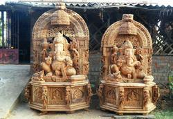 Simhasana Ganesha Wooden Statue 8 Feet