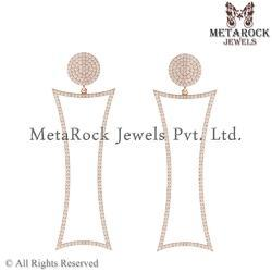 14k Rose Gold White Diamond Earring