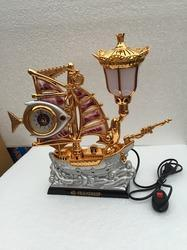 Golden Lamp with Clock