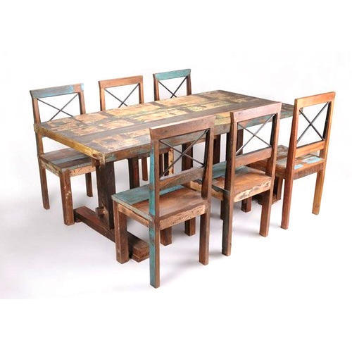 Recycled Wood Dining Table Six Seater