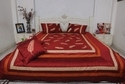 Printed Red Silk Dupion Queen Size Bed Sheet With Cushion Cover 5pcs Set